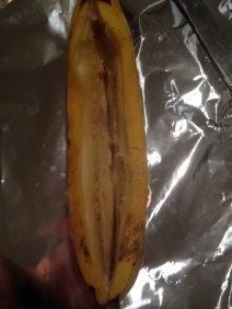 banana boat, sliced banana