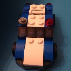 Lego blue racer front view