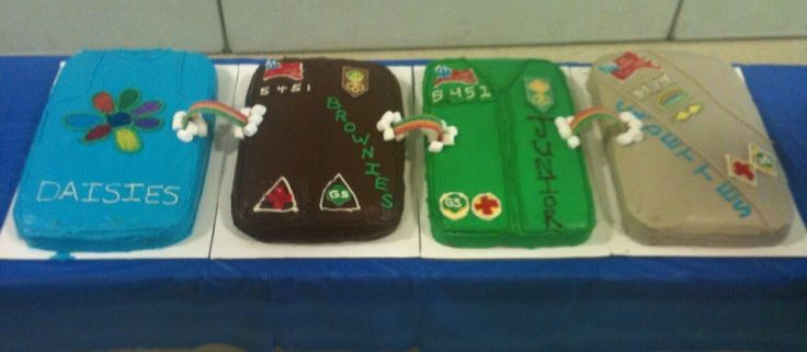 girl scout, bridging ceremony, cakes