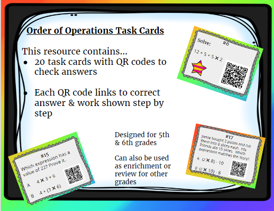 teachers pay teachers, QR codes 5th grade math