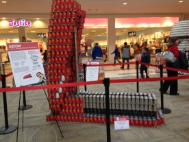 Canned food drive display, Kansas City Mall