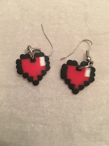 Legend of Zelda heart Perler bead Earrings