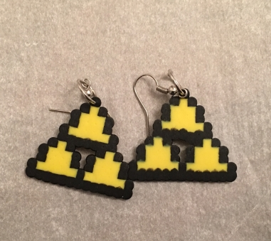 Legend of Zelda Triforce Perler Bead Earrrings