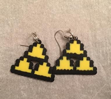 Legend of Zelda Triforce Perler Bead Earrrings