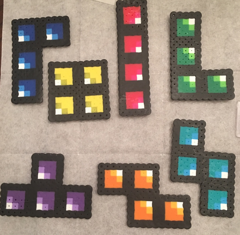 Perler Bead Tetris Bricks, craft, beads, perler