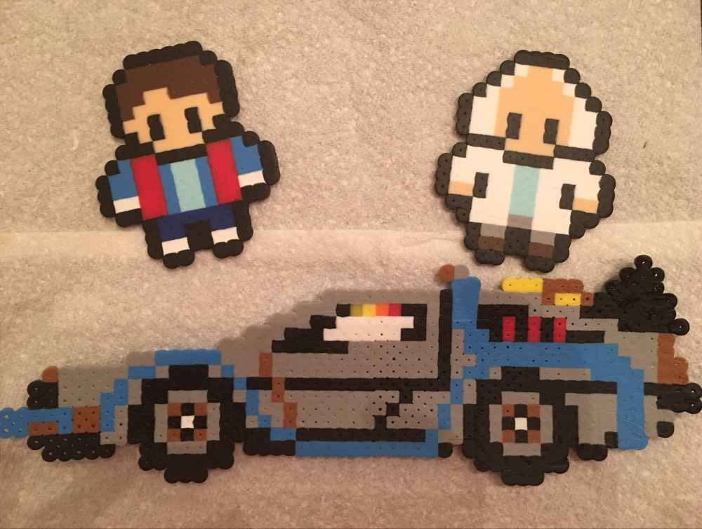 Back to the Future, Perler Beads, Marty, Doc, DeLorean
