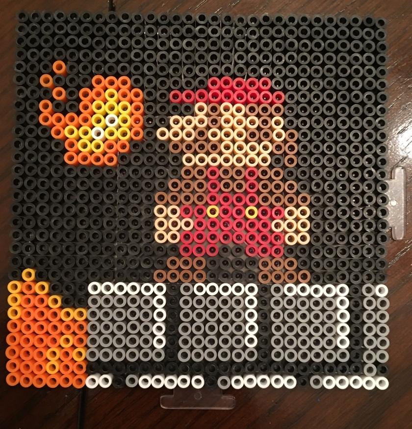 mario, fire, perler beads, scene
