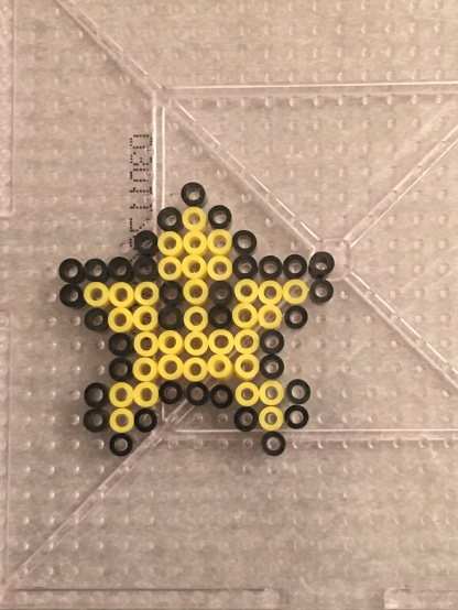 Super Mario Star made with Mini Perler Beads
