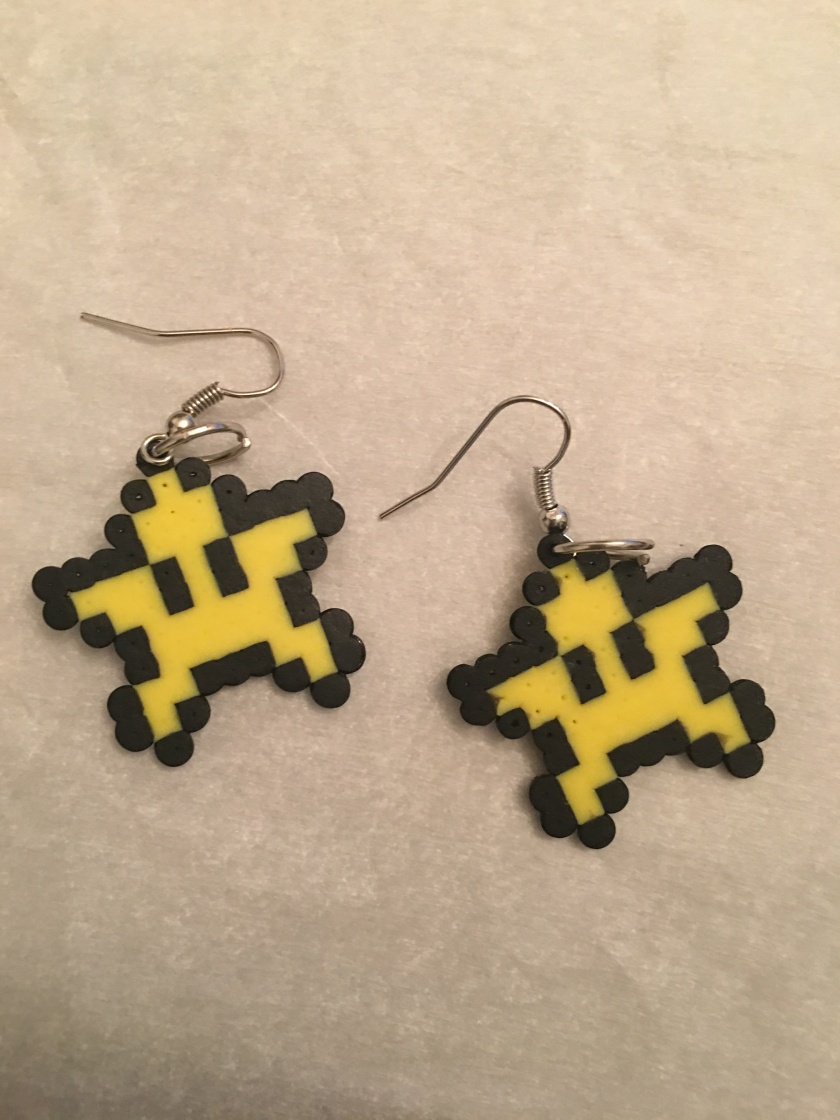 Super Mario Star made with Mini Perler Beads turned into earrings