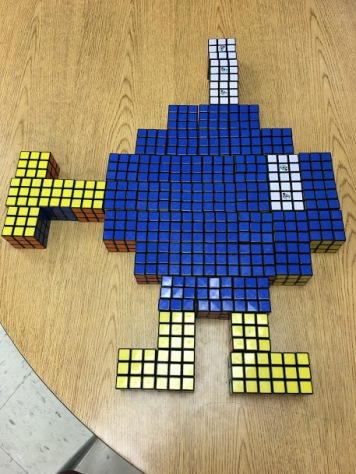Super Mario's Bobomb made from Rubik's Cubes