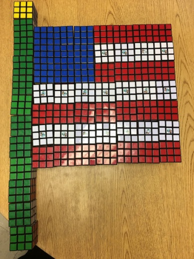 American Flag  made from Rubik's Cubes