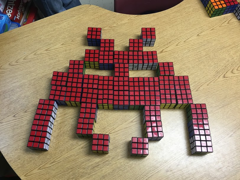 Space Invader made from Rubik's Cubes