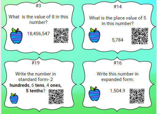 Place Value Whole Number And Decimal Task Cards Standard Word And