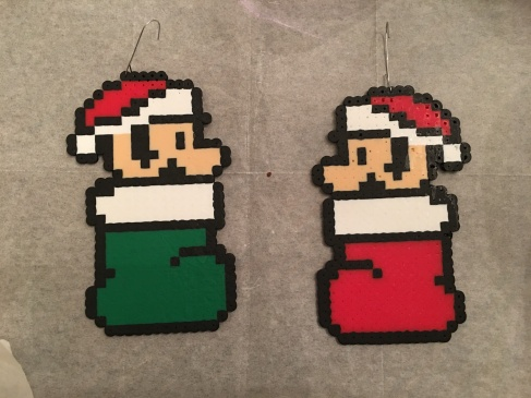 Super Mario and Luigi Christmas Ornaments Perler/ Hama Beads