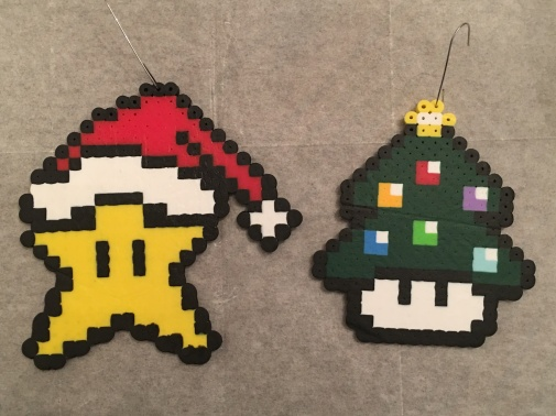 Super Mario Mushrooms Christmas Ornaments Perler/ Hama Beads