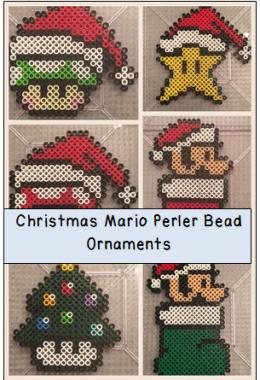 Super Mario Perler Bead Christmas Ornaments For Parents Teachers