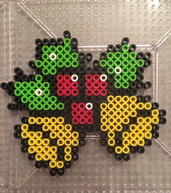 Bells with holly Christmas ornament made with Perler beads