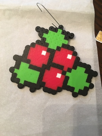 Christmas Ornament Holly Perler beads