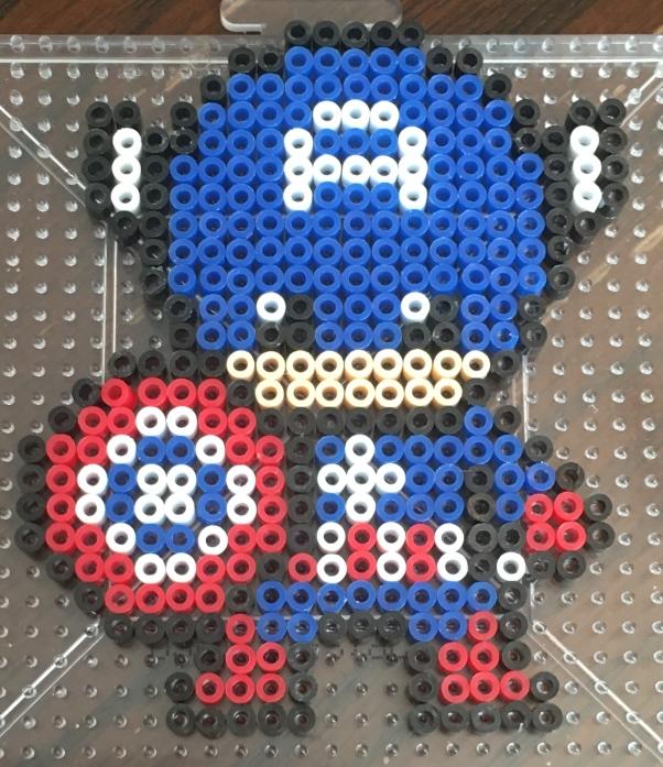 Captain America Mini Perler beads