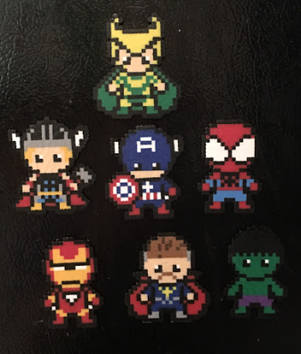 avengers, magnets, mini perler beads