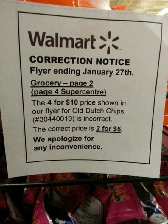 Walmart math error, real world math mistake, math fail